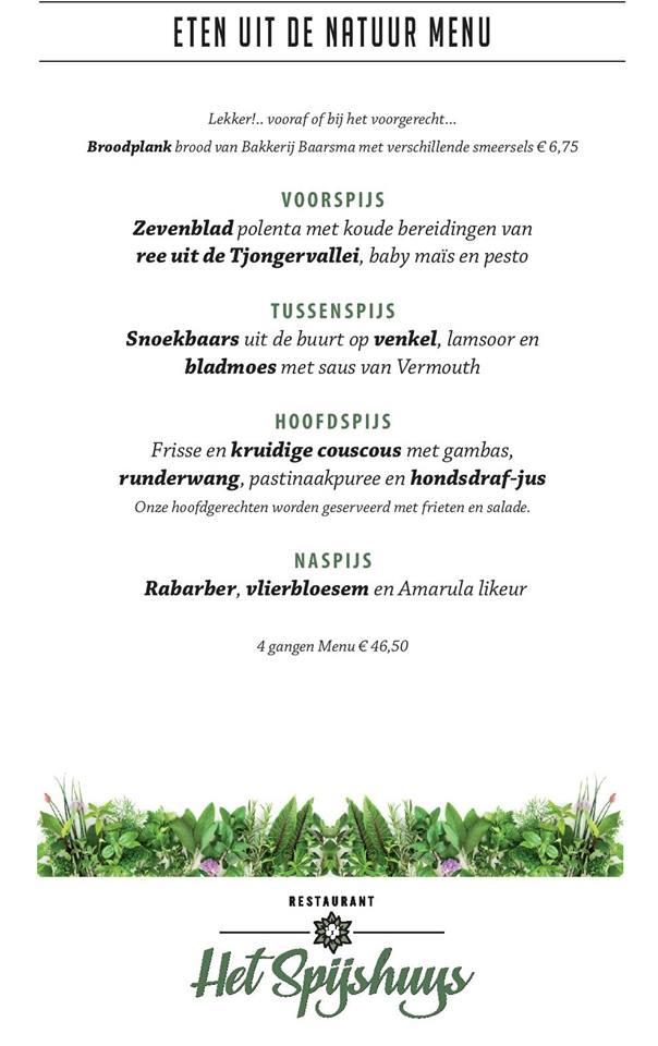 wilde kruiden menu van Het Spijshuys