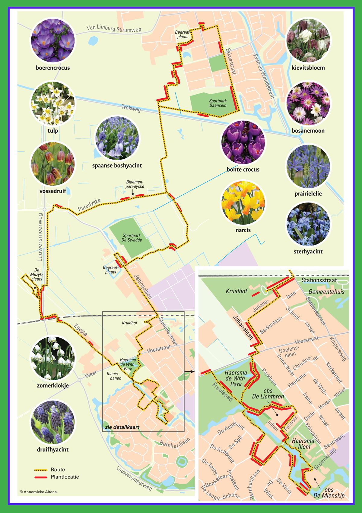 Kaart Stinzenroute Kollum-Buitenpost
